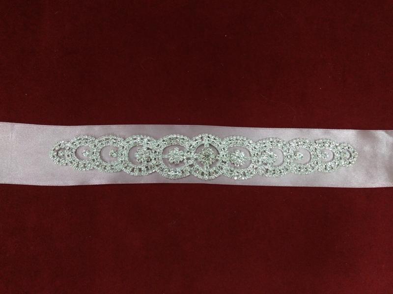 Пояс с камнями Swarovski для свадебного/вечернего платья серо-розовый