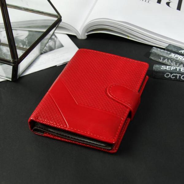 Портмоне женское 3 в 1 для автодокументов и паспорта, 2 отдела, для карт, для монет, цвет красный