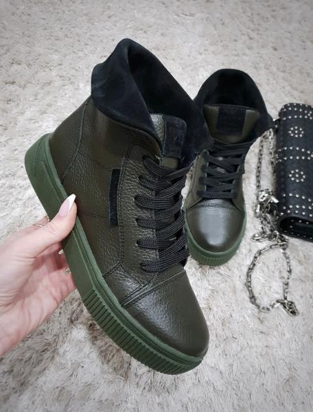 Стильные кожаные ботинки с отворотом. Украина