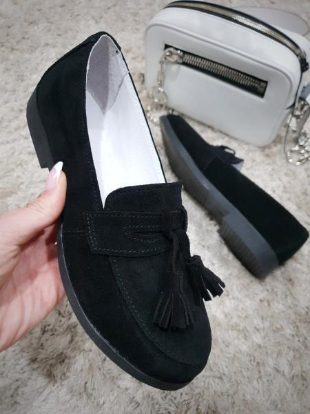 Женские замшевые туфли оксфорд с кисточками. Украина