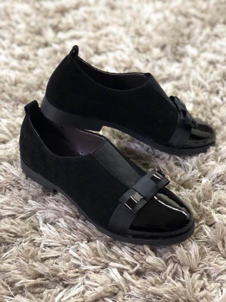 Женские замшевые туфли с бантиком лаковый носок. Харьков