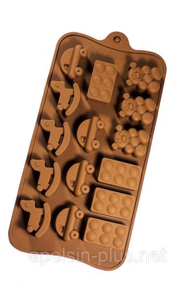 """Силиконовая форма для конфет и шоколада """"Детский мир"""" на 15 ячеек"""
