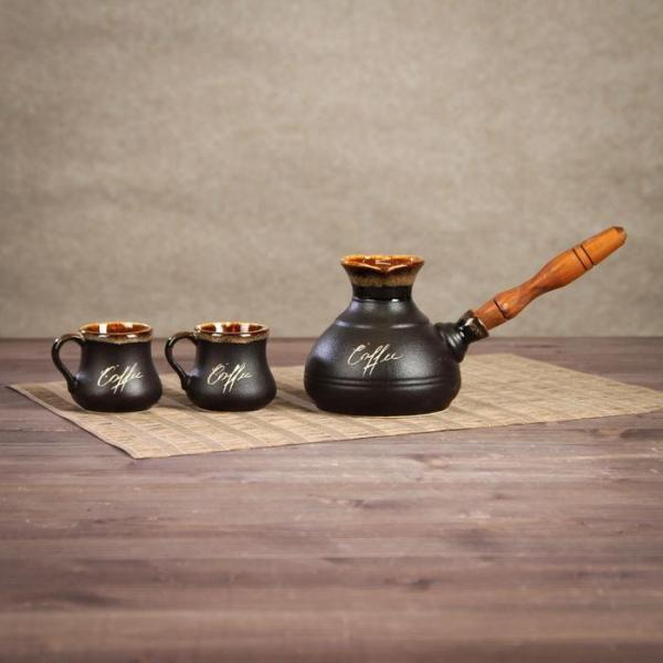 Кофейный набор 3 предмета: турка средняя 0,4 л, 2 чашки 0,1 л