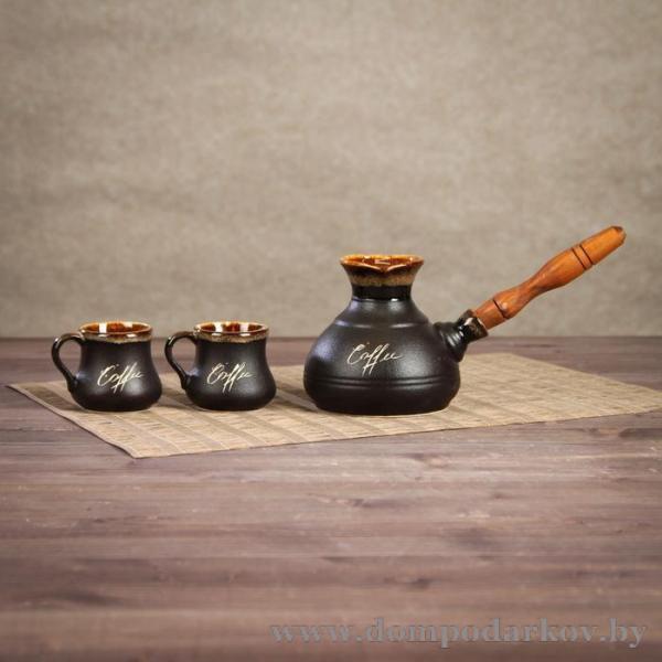 Фото ПОСМОТРЕТЬ ВЕСЬ КАТАЛОГ, Посуда , Посуда / разное  Кофейный набор 3 предмета: турка средняя 0,4 л, 2 чашки 0,1 л