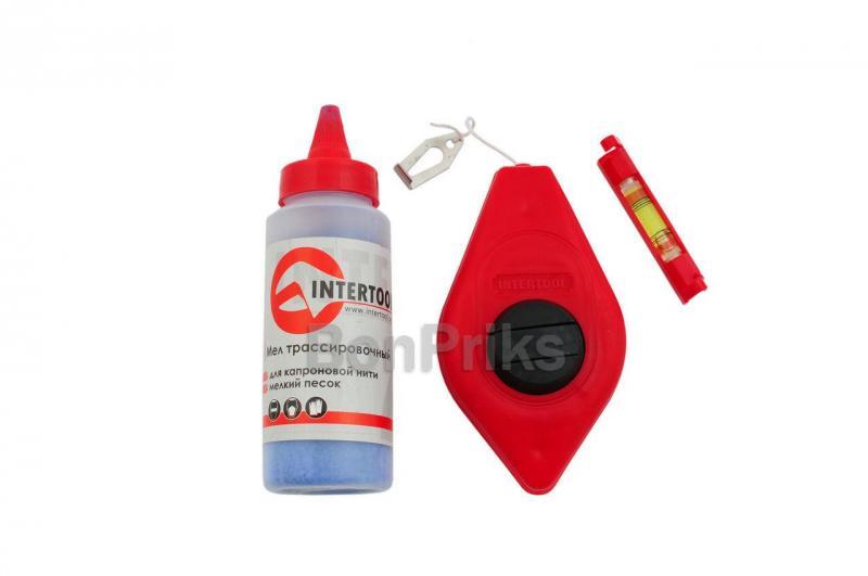 Набор 3-в-1 Intertool - шнур отбивочный, мел и шнуровый уровень