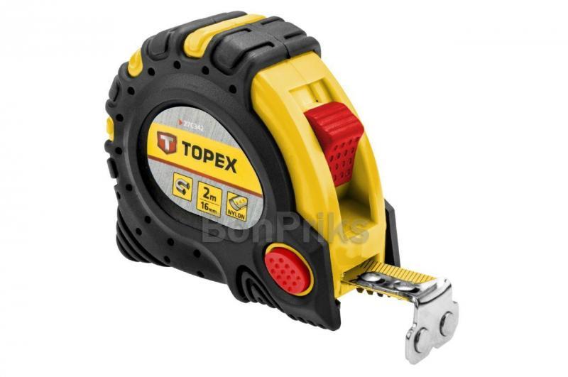 Рулетка Topex - 2 м х 16 мм, супер-магнит