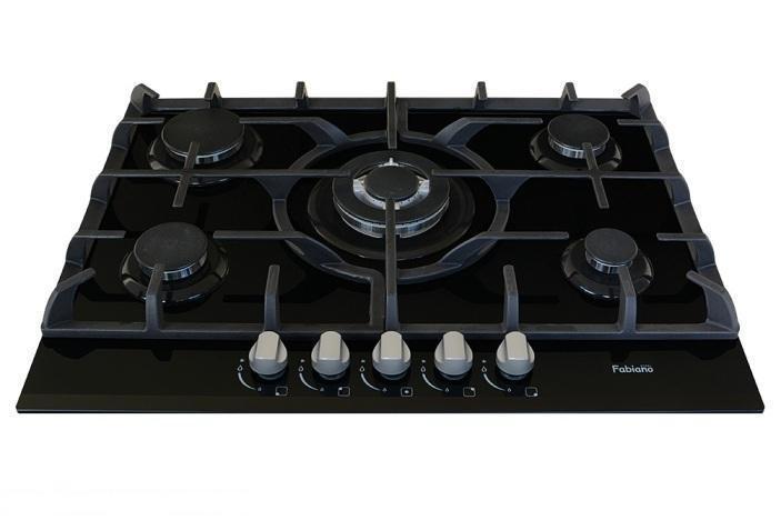 Газовая панель встраиваемая (стекло) Fabiano FHG 10-55 VGH-T Black Glass