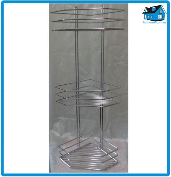 Полка нержавеющая сталь 3-ярусная угловая 65*19,5*19,5см хромированная