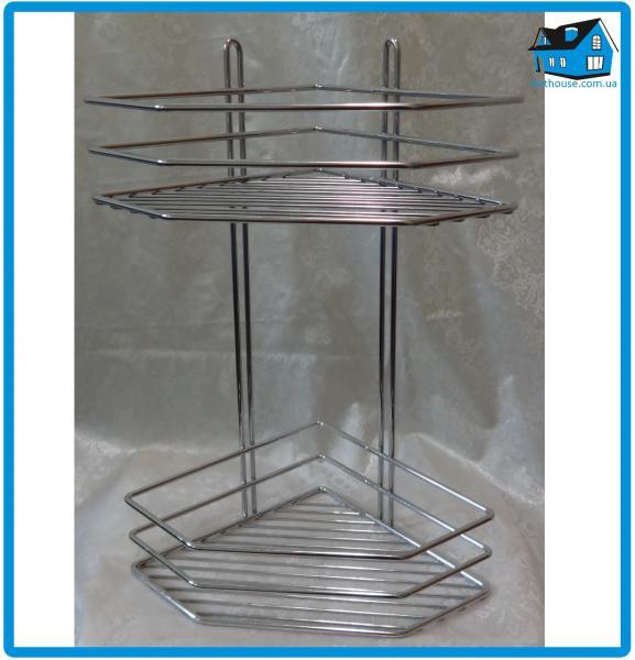 Полка нержавеющая сталь 2-ярусная угловая 38*19,5*19,5см хромированная