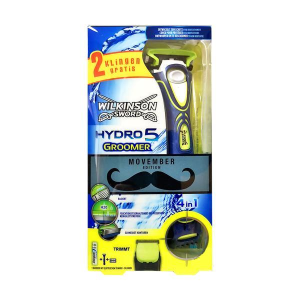 Фото Станки и лезвия, наборы подарочные, Cтанки для бритья, лезвия классические для Т-образных бритв., Системные станки для бритья Станок на батарейках WILKINSON HYDRO 5 GROOMER