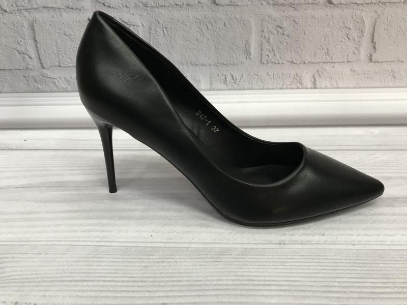 Туфли женские кожаные лодочки черные на шпильке.