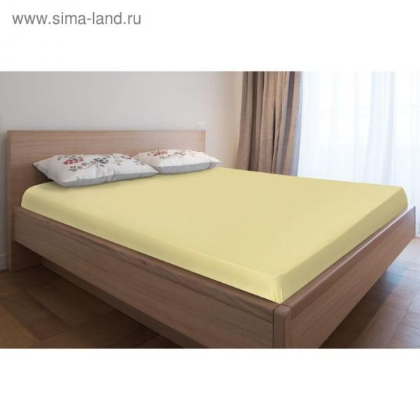 Простыня трикотажная на резинке, 80х200х20, цвет жёлтый, 125 гр/м2