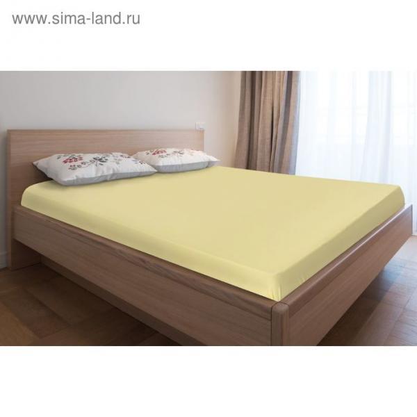 Простыня трикотажная на резинке, 160х200х20, цвет жёлтый, 125 гр/м2