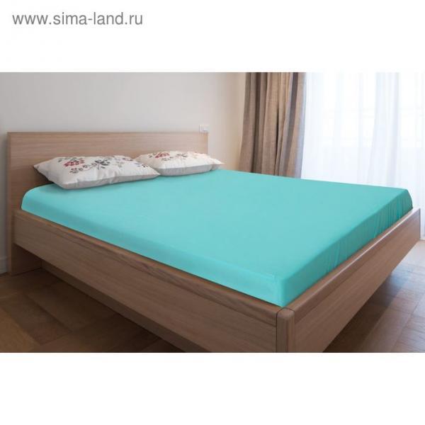 Простыня трикотажная на резинке, 180х200х20, цвет бирюзовый, 125 гр/м2
