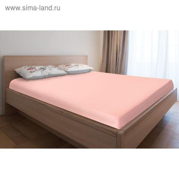 Простыня трикотажная на резинке, 180х200х20, цвет розовый, 125 гр/м2