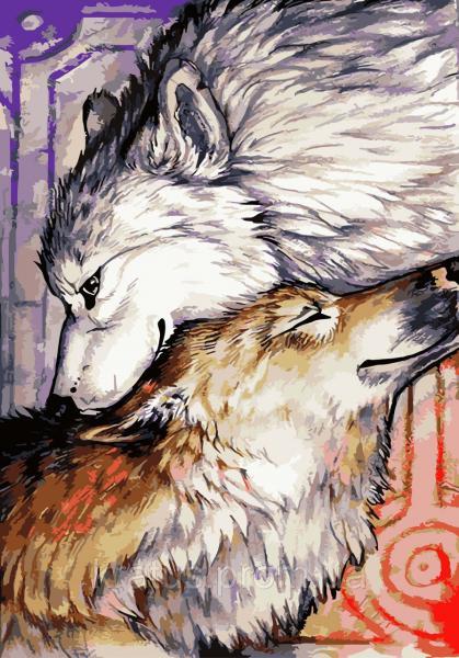 "KHO 2447 ""Влюбленные волки"" Роспись по номерам на холсте (без коробки) 35х50см"