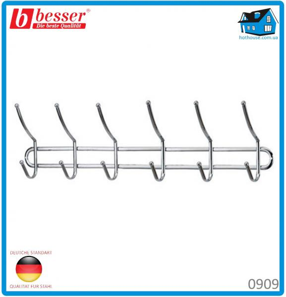 Вешалка Besser 0909  с 6 двойными крючками хромированная 56*6.5*16см