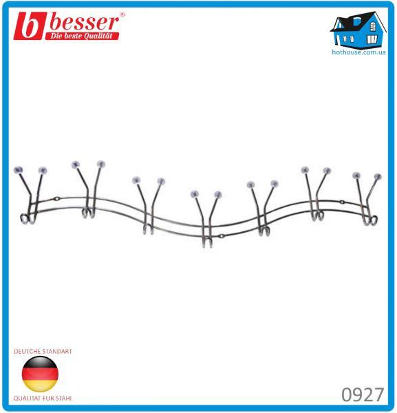Вешалка Besser 0927 хромированная с 7 тройными крючками 61.5*3.5*9.5см с силиконовыми наконечниками