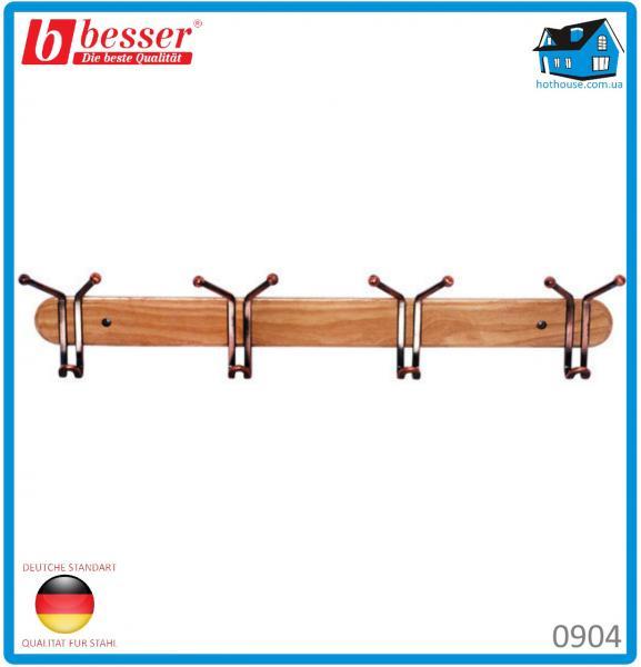 Вешалка Besser 0904 с 4 тройными крючками деревянная 63*6.5*13см