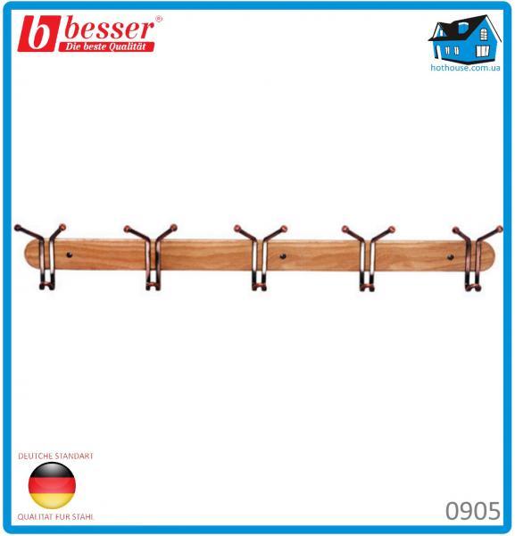 Вешалка Besser 0905 с 5 тройными крючками деревянная 81*6.5*13см