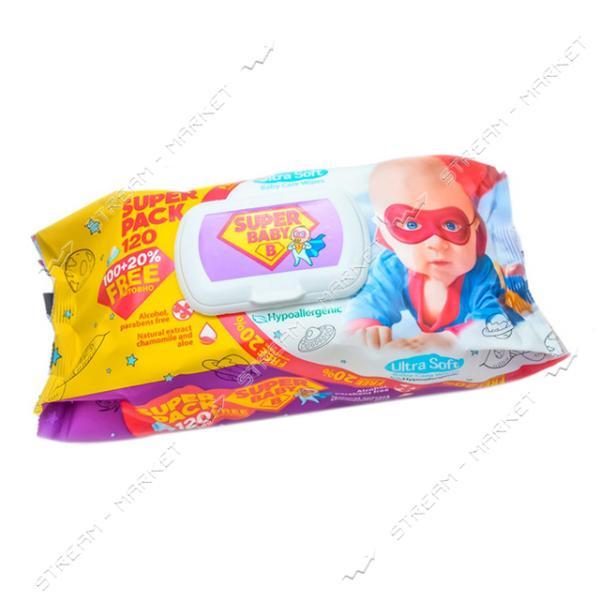 Салфетки влажные Super Baby SuperPack Ромашка и Aлоэ вера 120шт