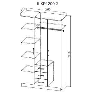 Фото  ДСВ мебель-Шкаф 3-х створчатый ШКР 1200.2 Ронда