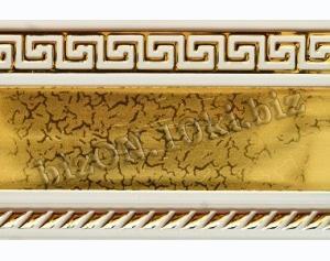 Фото Карнизы Пластиковые Потолочные Бленда   Греция «Золото на Белом»,   Декоративная лента для потолочного карниза серии «КСМ», ширина = 7 см