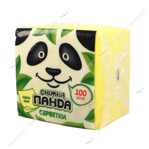 Салфетки столовые Снежная панда однослойные желтые 24x24см 100шт