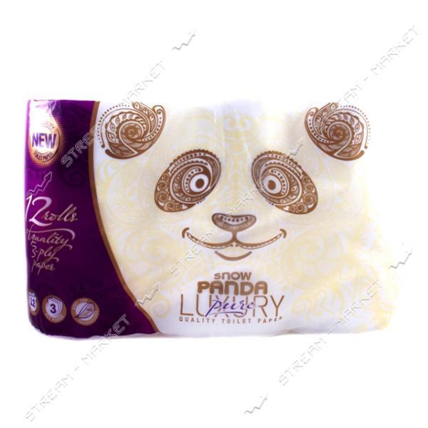 Туалетная бумага Снежная панда Luxury Pure 4 слоя 12 рулонов