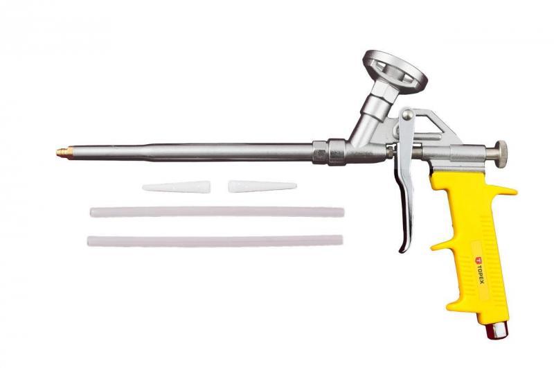 Пистолет для пены Topex - никель (желтая ручка)