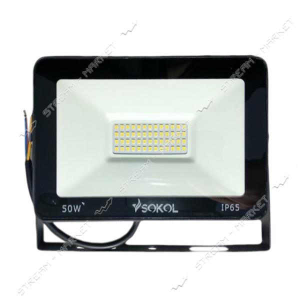 Светодиодный прожектор SOKOL LED-SLT-50W 220V 6500К IP65 Slim 3500lm холодный