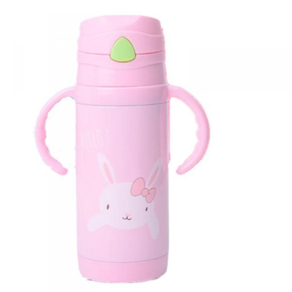 Детский термос-поилка WENDO Hello c трубочкой 380 мл Розовый (SUN1640)