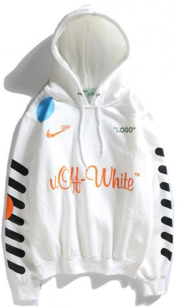 Мужская кофта с капюшоном Off-White (Офф Вайт) белая XXL