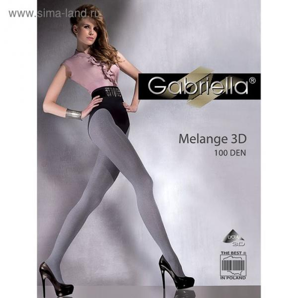Колготки женские GABRIELLA MELANGE 3D 100 den, цвет серый меланж (melange graffit), размер 3