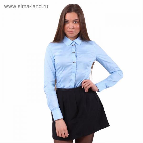 Блузка женская классическая, размер 48 (L), рост 170 см, цвет голубой
