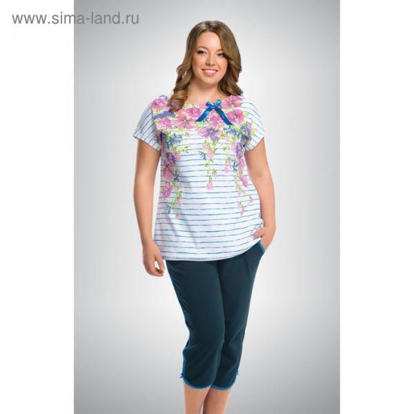 Пижама женская (футболка, бриджи), цвет голубой, размер 48 (L)