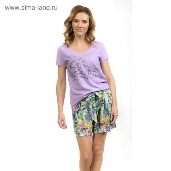 Пижама женская (футболка, шорты), цвет сиреневый, размер 46 (M)