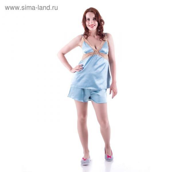 Пижама женская (майка, шорты), цвет голубой, размер 48 (L)