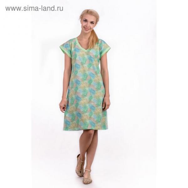 """Сорочка женская """"Хризантемы"""", цвет салатовый, размер 48 (арт. ML2537/01)"""