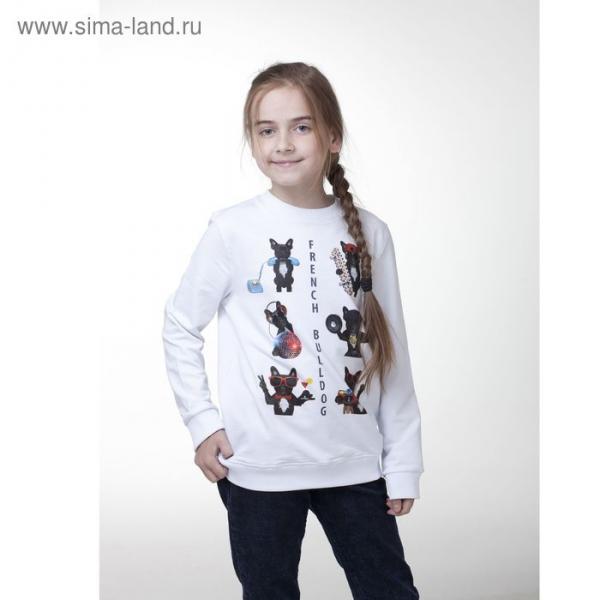 Толстовка для девочки, рост 146 см, цвет белый (арт. 16-1-50g-47-200-3)