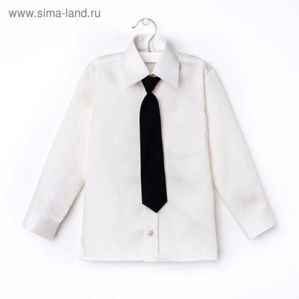 Сорочка для мальчика, нарядная с галстуком, рост 98-104 см (26), цвет ваниль 1181