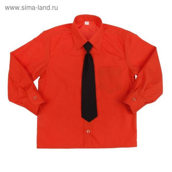 Сорочка для мальчика, нарядная с галстуком, рост 86 см (25), цвет кирпич 1181_М