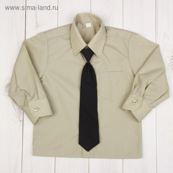 Сорочка для мальчика, нарядная с галстуком, рост 86 см (25), цвет оливковый 1181_М