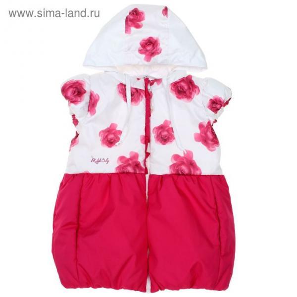 Жилет для девочки, рост 86 см, цвет розовый, принт розы