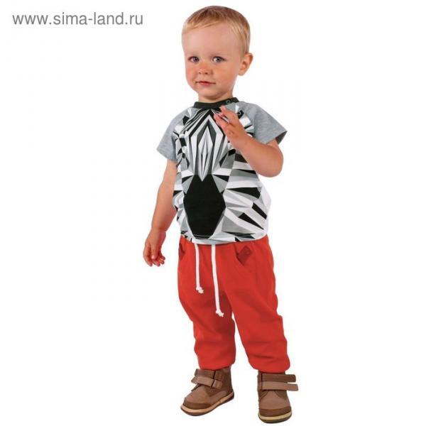 """Брюки для мальчика """"Зоо"""", рост 74 см (48), цвет красный"""