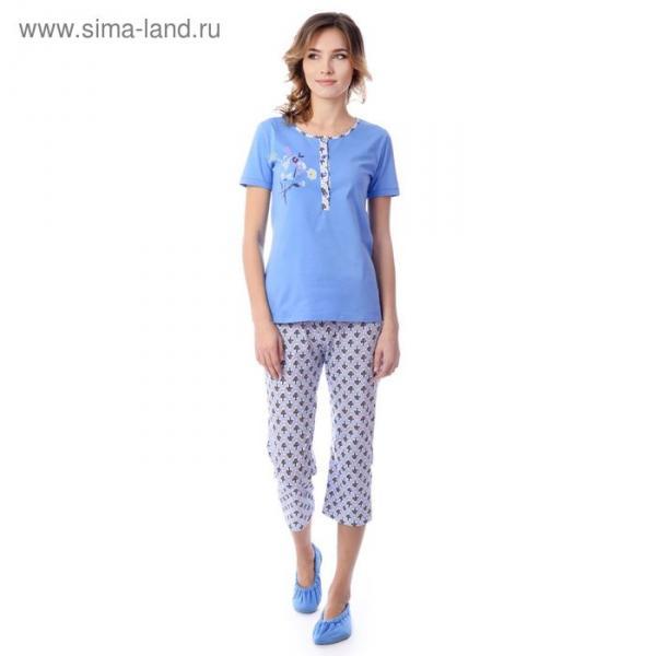 Пижама женская (футболка, бриджи) MK2750/01 цвет голубой, р-р 54, рост 158-164