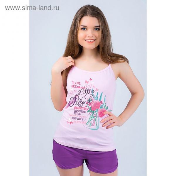 Комплект женский (майка, шорты) 8865 цвет фиолетовый, р-р 48