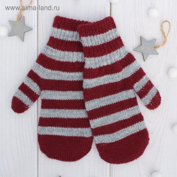 Варежки двойные для мальчика, размер 16, цвет серый меланж/бордовый 2с229