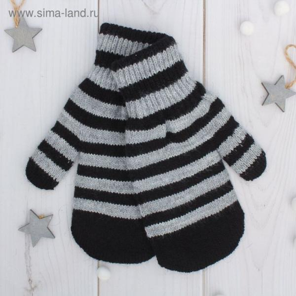 Варежки двойные для мальчика, размер 14, цвет серый меланж/чёрный 2с229