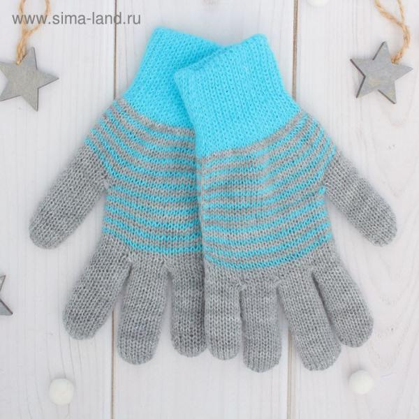 "Перчатки двойные для мальчика ""Анжу"", размер 14, цвет серый меланж/голубой 3с239"